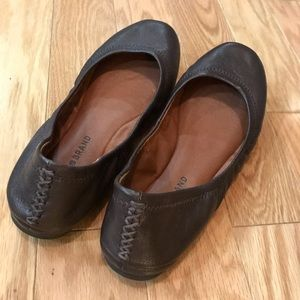 Lucky brand brown leather semis Ballet flat shoe 7